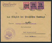Dt. Reich Dienstmarken Vordruckbeleg Preußischer Landtag 1923 (S12978)