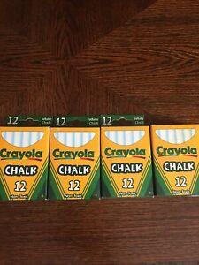 Crayola Chalk WHITE 12 Count Boxes (4 boxes x 12 sticks) NEW  48 Chalks Total