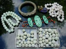 NICE LOT OF ANTIQUE CHINESE JEWELRY, JADE BEADS, SILVER & TURQUOISE BRACELET