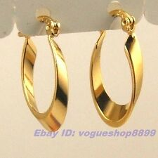 """0.87"""" REAL APOLLONIAN 18K YELLOW GOLD GP HOOP EARRINGS SOLID FILL EARBOB 1128e"""