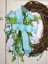 HANDMADE BOW with greenery for GRAPEVINE WREATH, LANTERN any SUMMER Decor # 46 W