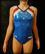 """Under Armour Gymnastics Leotard """"Noble"""" Team USA Replica Rio Olympics Foil Sz AS"""