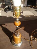 """VINTAGE 3 WAY UNDERWRITERS LABORATORIES BRASS AND WOOD EAGLE TABLE LAMP 33"""" TALL"""