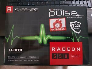 new Sapphire Pulse OC AMD Radeon RX550 2GB Graphics Card BNIB