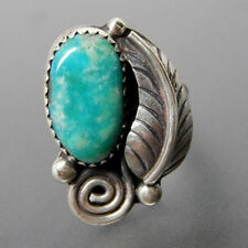 Unisex Turquoise Feather Antique Silver Lover Ring Wedding Engagement Ring Gift