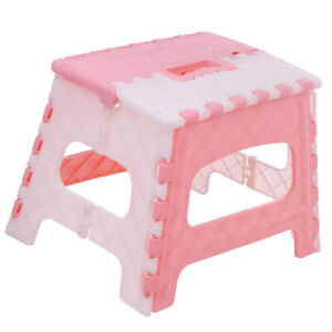 Plastic Collapsible Step Stool Anti Slip Lightweight Kitchen Camping Pink