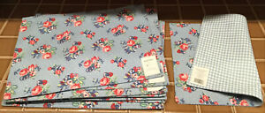 11 NWT Waverly Garden Room Hillside PLACEMATS Blue Checks Gingham Pink Roses