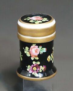 1750's  Sevres Porcelain Black Gold Roses Flowers Miniature Jar Ointment Pot