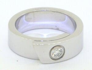 Cartier heavy 18K WG 0.10CT VS1/F diamond solitaire band ring sz 5 Euro sz 49