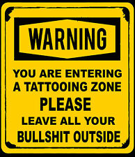 Tattoo shop,wall decal sticker warning you are entering a tattooing zone.