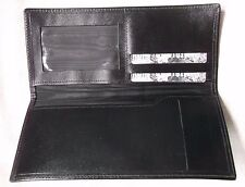Wallet Vintage Leather BLACK BI-FOLD 1980s 1990s CHEQUE BOOK CARDS ID NOTES