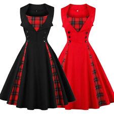 Plus Size Vintage Plaid Checks 50s ROCKABILLY Swing Pinup Housewife Retro Dress