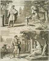 Moralisierende Darstellung, Der tugendhafte Wanderer, 18.Jh., Radierung