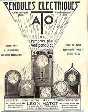 25 BESANCON PENDULES ELECTRIQUES ATO LEON HATOT PUBLICITE 1926