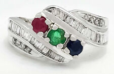 NATURAL RUBY, BLUE SAPPHIRE, EMERALD & DIAMONDS 10k Ring *FREE S/H & APPRAISAL