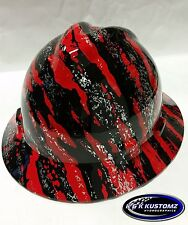 Red Marble Splash Pattern Full Brim New Custom MSA V-Gard Hard Hat W/FasTrac