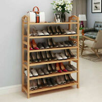 6 Tiers Wood Bamboo Shelf Entryway Storage Shoe Rack Organizer Home Furniture