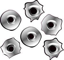 6 x agujero de bala de pegatinas de vinilo..6 x45mmdiameter.. el Auto Moto calcomanías