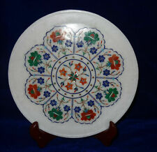 """10"""" Marble Multi Decorative Serving Tray Plate Inlaid Floral Kitchen Decor Gifts"""