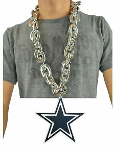 Dallas Cowboys NFL SILVER FanChain Necklace Big Rope Chain 3D Foam Magnet