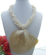 7 Strds White Pearl Shell Pendant Necklace