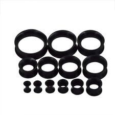 Ear Tunnel Plug Stretcher Taper Piercing- Black Soft Silicone 1 Pair (2pcs)