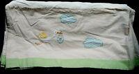 Pottery Barn Kids Crib Patchwork Stork Pattern Skirt Cotton Linen Unisex Nursery