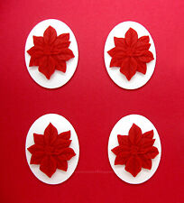 White 40mm x 30mm Holiday Crafts Cameos 4 Unset New Christmas Red Poinsettia on