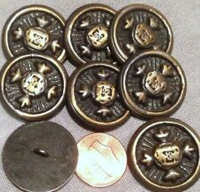 "8 Large Brass Tone Grey Paint Metal Shank Buttons Heraldic Crown 1"" 25mm # 7499"