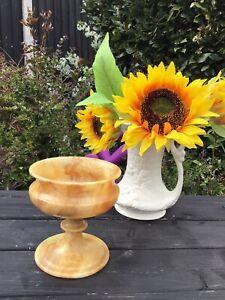 Luxurious Vintage Amber Veined Marble Urn Classic Vase Plant/Flower Holder VGC