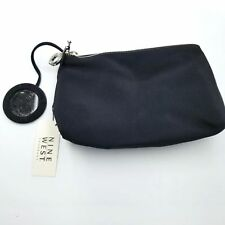 Nine West Makeup Bag Zippered Mirror Attached Black Silver Cosmetic Travel New