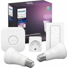 Philips Hue Starter-Set 2x E27 Leuchtmittel, Bridge, Dimmschalter + Stecker  NEU