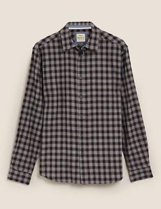 M&S Marks Spencer Men Regular Fit Brushed Cotton Check Shirt Navy Blue/Grey BNWT