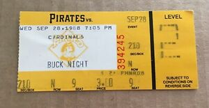 Pedro Guerrero HR #175 Home Run 1988 9/28/88 Pirates Cardinals Ticket Stub