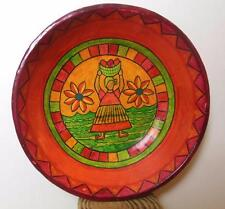 """Hand Painted Bowl Woman with Fruit Folk Art Reds 8"""""""