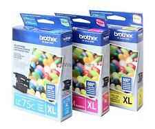 Brother LC75C LC75M LC75Y XL Cyan Magenta Yellow Ink Cartridge Set Genuine New