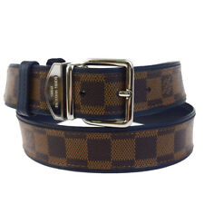 Authentic LOUIS VUITTON Ceinture Sydney Belt Epi Leather Brown Navy Blue 33EC030