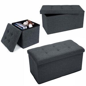 UK Large Linen Folding Storage Ottoman Pouffe Seat Foot Stool Storage Box Bench