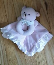Carters Pink Baby Lovey Ring Rattle Teddy Bear Security Blanket