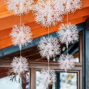 180Pcs White Snowflakes Decorations Window Ceiling Hanging Ornaments Xmas Decor