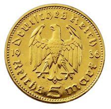 ++ 5 Reichsmark 1936 - Hindenburg - 24 Karat vergoldet ++