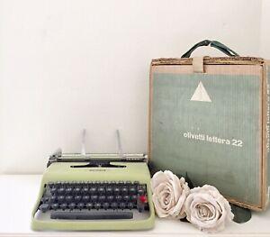 Macchina Da Scrivere Vintage Olivetti Lettera 22 Con Custodia
