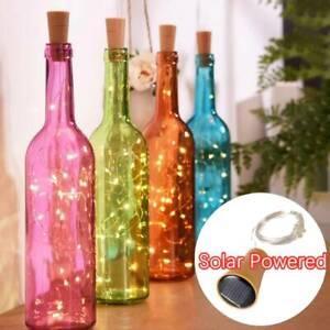 10X 5X 20LED Solar Power Lamp Copper Wire Cork Wine Bottle Fairy String Lights X