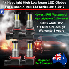 4x 360° 32000lm Headlight Globes High Low Beam For Nissan Xtrail T32 2014-2017