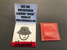 ELWOOD BUSH SUPER RARE PROMO ONLY PROMOTIONAL CONDOM + MATCHBOOK CASE NOS
