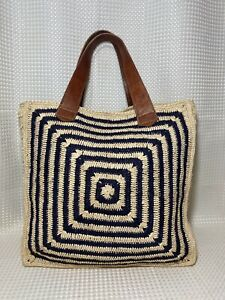 MAR Y SOL Tote Bag Raffia Straw Leather Handles Woven Beach Bag Shopper Panama