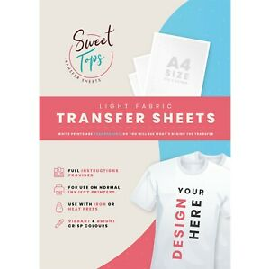5 x A4 IRON ON T-SHIRT TRANSFER PAPER FOR LIGHT FABRIC - FOR INKJET PRINTER