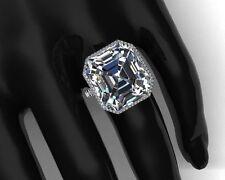 925 Sterling Silver Cz White Asscher Halo Split Shank Women Ring Fancy Niki Gems