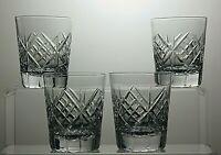 "TUDOR CRYSTAL CUT GLASS DRINKING 5 OZ TUMBLERS SET OF 4 - 3 1/8"" TALL"