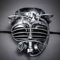 Black Silver Diver Steampunk Mask Gas Spikes Halloween Costume Face Masquerade